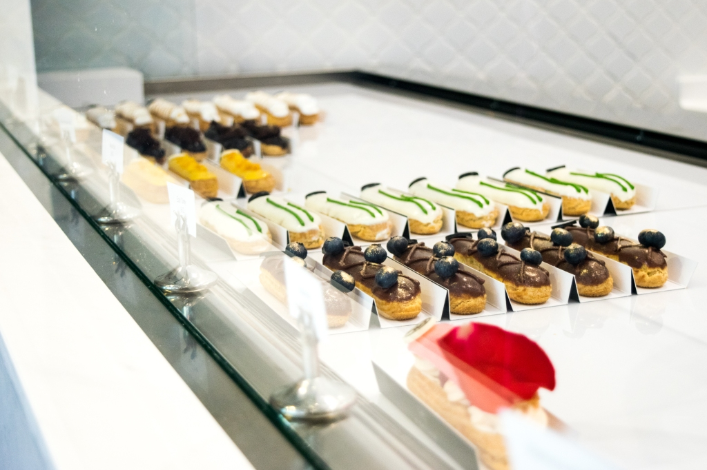 Éclairs galore! There is about 10 different flavours every day.