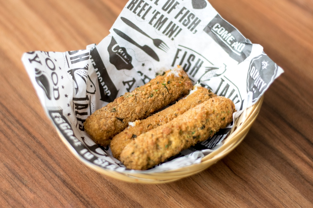 Mozzarella Cheese Sticks ($4.80) Eat them quick, before the cheese loses its magical gooey quality.