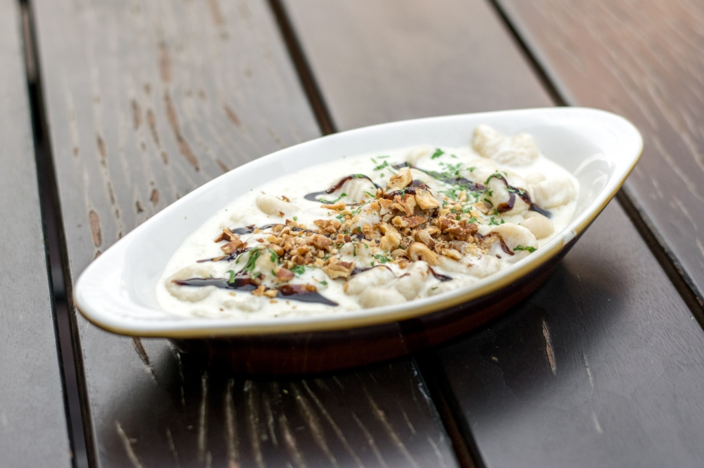 """Gnocchi ($18) Gorgonzola Cream, Aged Balsamic, Roasted Walnuts """"Potato pasta."""", was my description when some of my friends didn't know what Gnocchi was. Cooked with Gorgonzola, which is an Italian blue cheese, the flavour of the dish was slightly stronger than the Carbonara. My friends & I really liked the Gnocchi, so it's worth ordering!"""