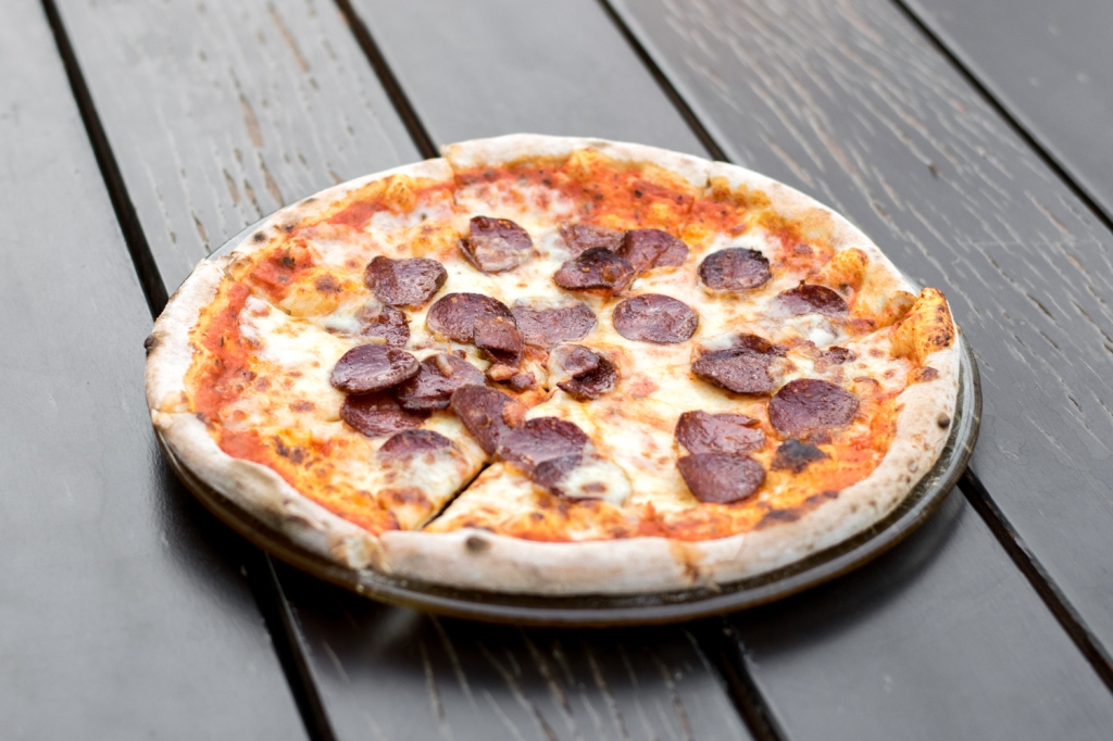 """Diavola ($26) Pepperoni, Tomato, Mozzarella My friends & I were extremely surprised when the pizzas were served first. They cook really fast in the wood-fired oven! After taking a bite, one of my friends eyes widened before he exclaimed, """"This is the best pepperoni pizza I have ever tasted!"""" I attested to that, it was really one of the best pepperoni pizzas that I myself have tasted. While the toppings were quite simple, the flavour of the pizza was really delicious! Highly recommended."""