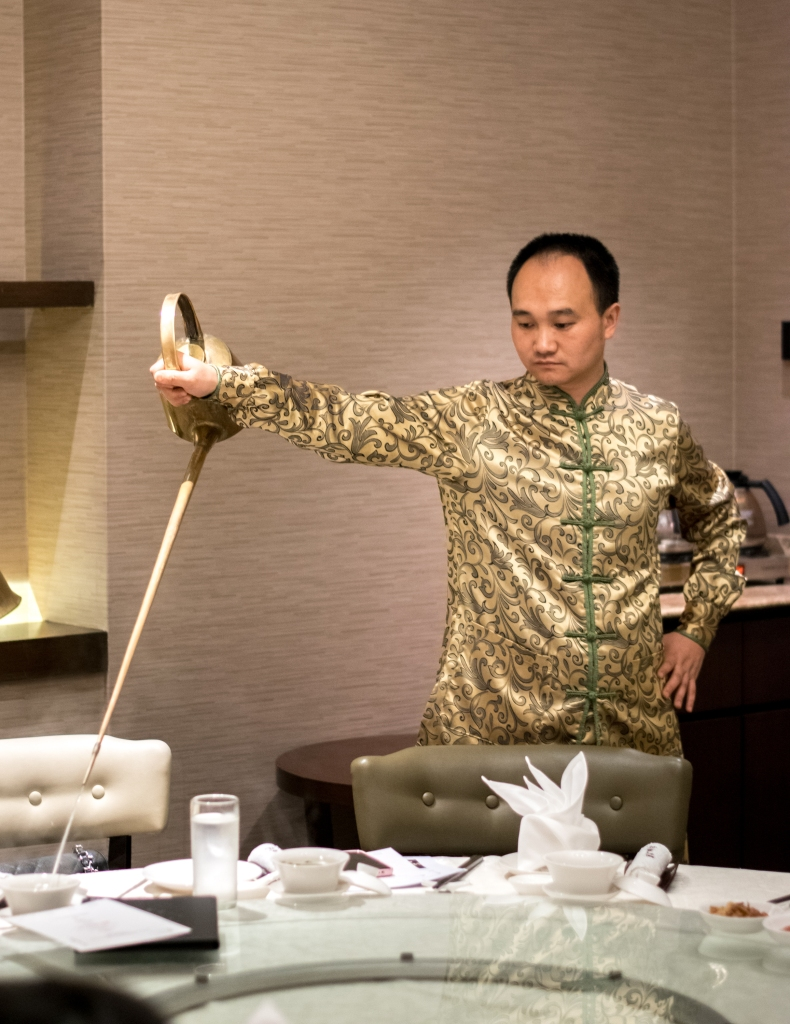 Check out deft skills of the Tea Master who combines martial arts, dance and gymnastics in the traditional art of tea-pouring as well!